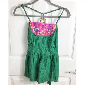 Free People Green And Pink Embroidered Y Back Tank